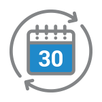 30 Day Exchange Calendar Icon