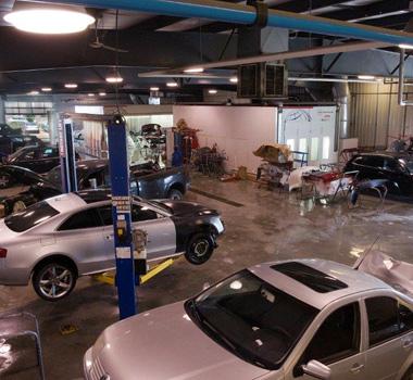 Collision repair centre interior view