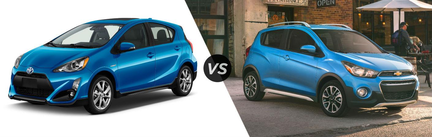 2018 Toyota Prius c Exterior Driver Side vs 2018 Chevy Spark Exterior Passenger Side