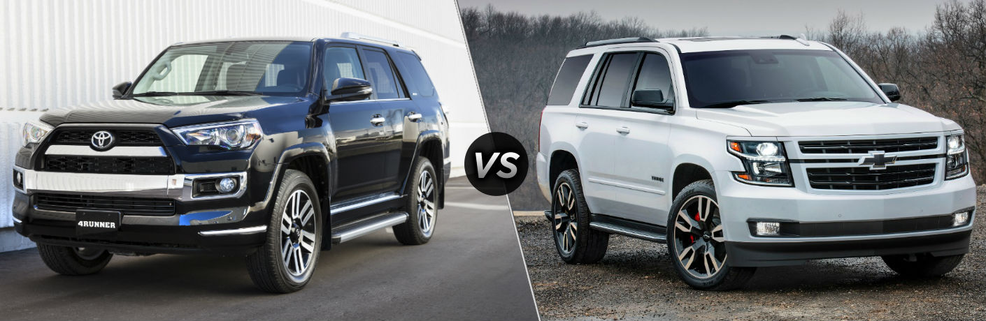 2018 Toyota 4Runner Exterior Driver Side Profile vs 2018 Chevy Tahoe Exterior Passenger Side Profile