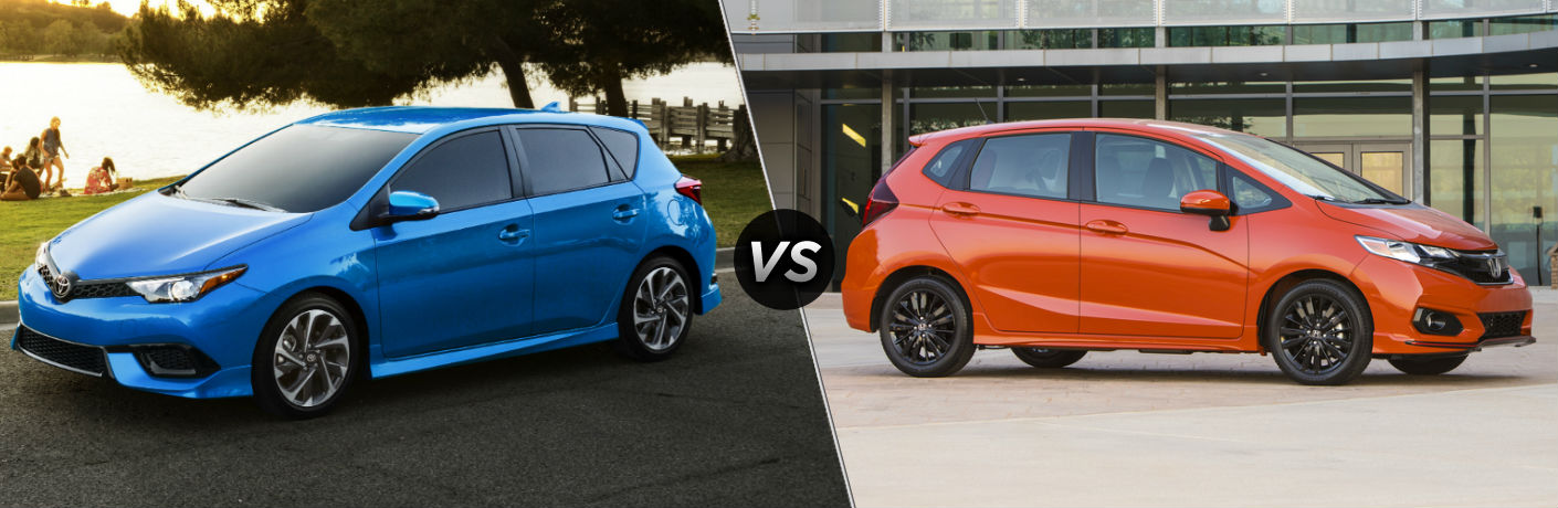 2018 Toyota Corolla iM Exterior Driver Side vs 2018 Honda Fit Exterior Passenger Side