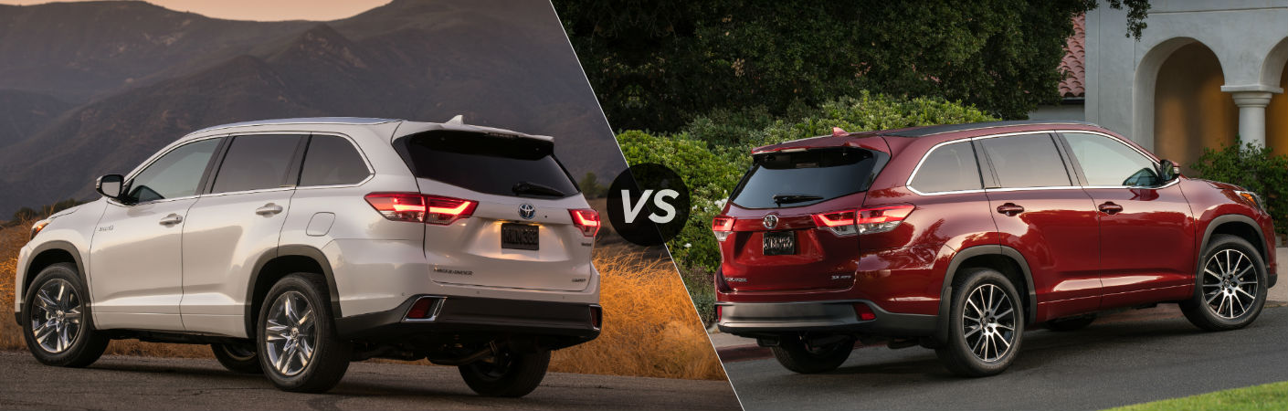 2018 Toyota Highlander Hybrid Exterior Driver Side Rear vs 2018 Toyota Highlander Exterior Passenger Side Rear