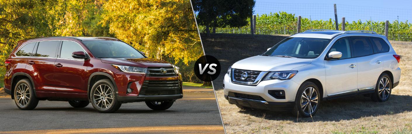 2018 Toyota Highlander Exterior Passenger Side Front vs 2018 Nissan Pathfinder Exterior Driver Side Front