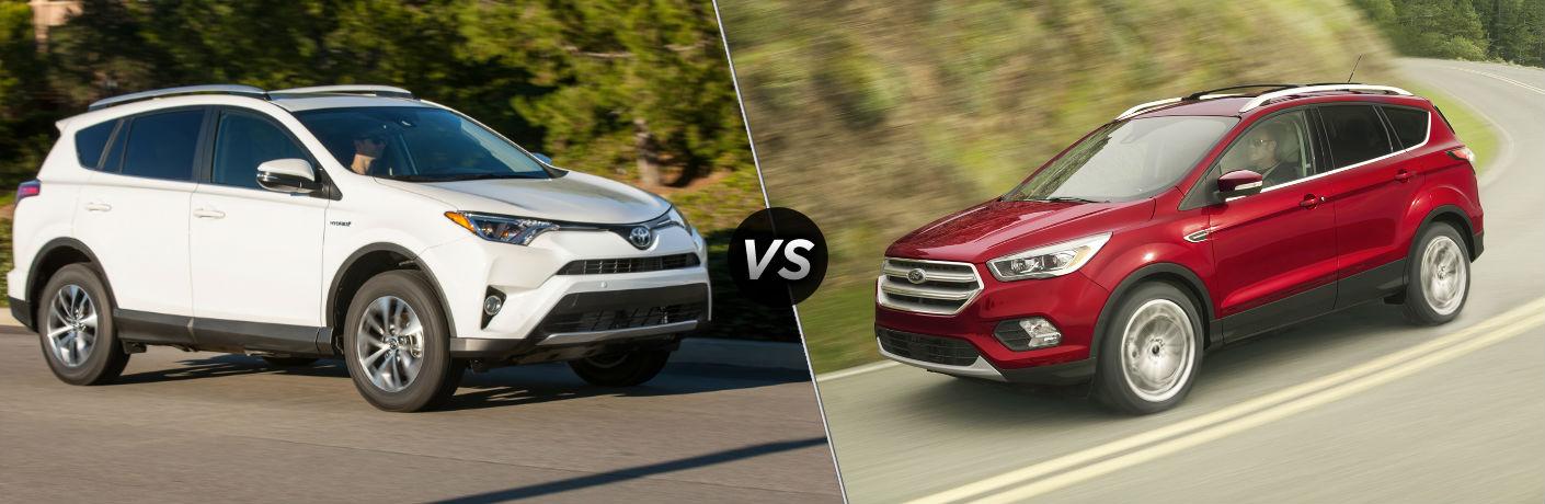 2018 Toyota RAV4 Hybrid Exterior Passenger Side vs 2018 Ford Escape Exterior Driver Side