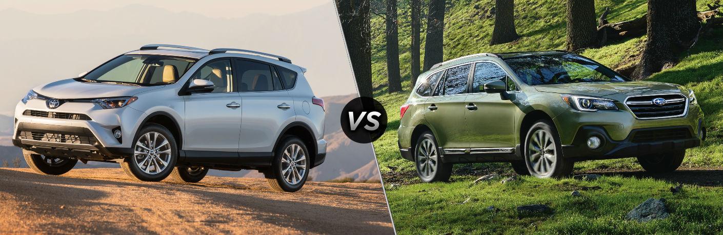 2018 Toyota RAV4 Exterior Driver Side Front vs 2018 Subaru Forester Exterior Passenger Side Front