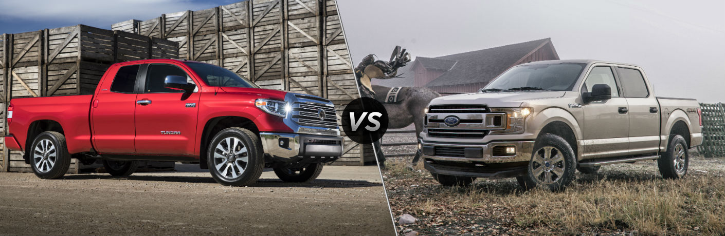 2018 Toyota Tundra Exterior Passenger Side Profile vs 2018 Ford F-150 Exterior Driver Side Profile