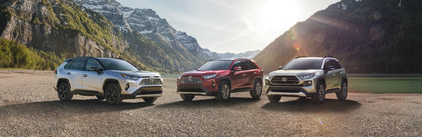 Entire 2019 Toyota RAV4 Lineup Exterior Front Profiles