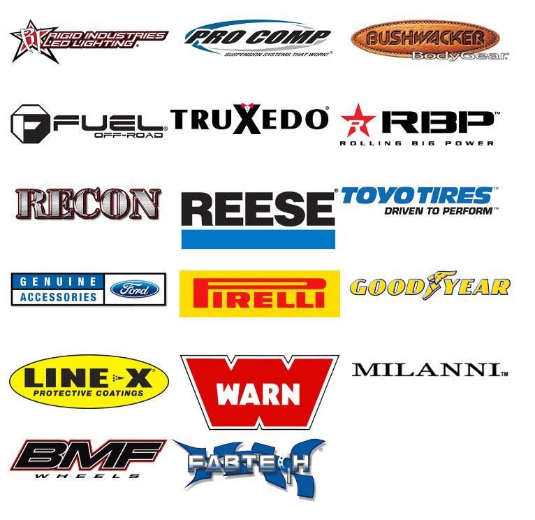 Custom truck part brand logos
